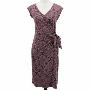 Nomads Organic Cotton Purple White Medallion Dot Print Jersey Dress Cap Sleeve 8